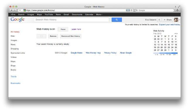 how to get rid of search history on google