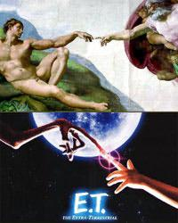 The semiotic synchronicity between these two pictures is clearly religious.