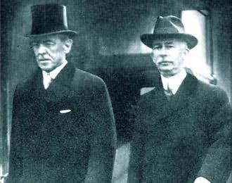 "President Woodrow Wilson with Rothschild agent ""Colonel"" Edward Mandell House."