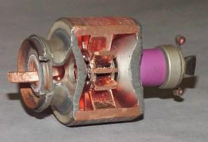 Inside an industrial magnetron.
