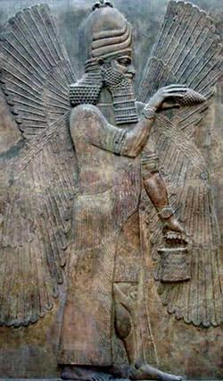 Some researchers claim that stone panels such as this one of a 'winged gentil', from the Ancient Near East (British Museum, London), point back to the days when the Anunnaki roamed the Earth.