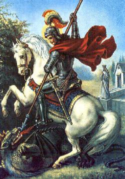 Traditional Christian depiction of St. George overcoming the 'dragon.'