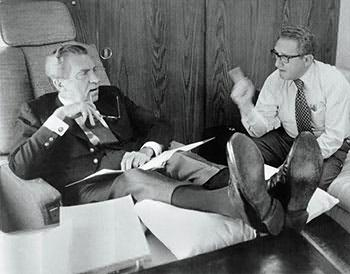 Richard Nixon and Henry Kissinger, July 3rd, 1973. Photo Bettmann/Corbis.