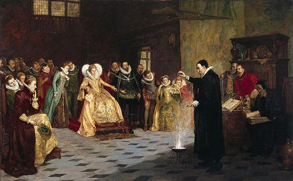 The occultist, astrologer, and consultant to Queen Elizabeth I, John Dee, performing an experiment before her.