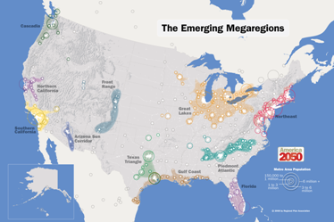 Figure 2: The Rockefeller-funded America 2050 map of America and Canada divided into megaregions.