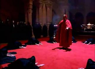 A scene from Stanley Kubrick's movie Eyes Wide Shut depicting a ceremony of a secret society of the elite. These are replicas of ones that exist in the underworld.