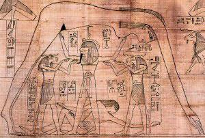 "Depiction of the ""weighing of the heart""."