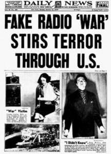 A news report following Orson Welles' broadcast of War of the Worlds.