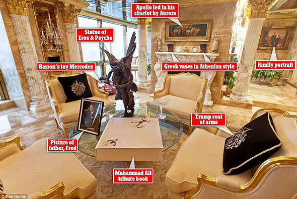 "The lavish Trump Apartment. Notice the picture of the Sung-God Apollo over the fireplace, and the statue of Eros — the God of sexual pleasures where the word ""erotic"" originated — on the table."