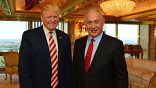 "The Donald and his ""Good Friend"" Bibi Netanyahu meeting at Floor 66 of Trump Towers."