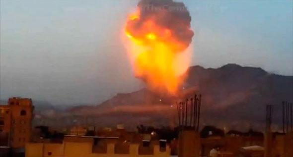 Neutron bomb exploding in Yemen in 2015.
