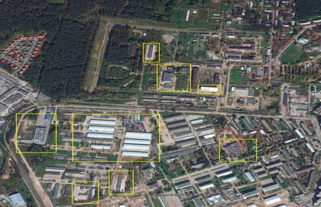 The Center for Military Technical Problems of Biological Defense of the Scientific Research of Microbiology in Ekaterinburg, Russia, in 2015. The yellow boxes indicate areas that changed significantly since 2005. (Courtesy of Raymond Zilinskas/Center for Nonproliferation Studies)